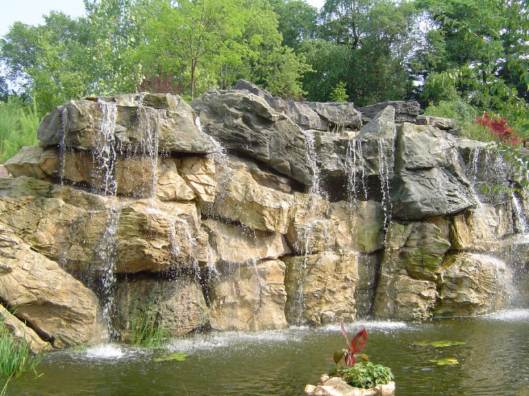 Rock in Pond with Fountain
