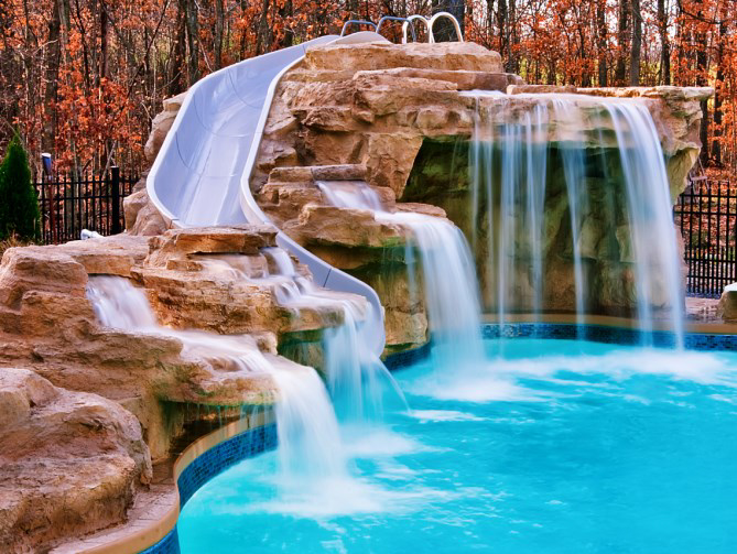 Rock Application with Fountains and Waterslide